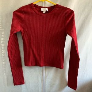 Topshop red long sleeve crop top